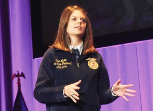 Kaci Major, the Burleson FFA's student president from 2012-13, delivers her farewell address Wednesday to the Texas FFA. (Burleson Star/BRIAN PORTER)